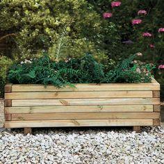 Rowlinson Wooden Raised Planter Flower Bed 6x3 Garden Herbs Vegetables