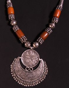 Yemeni silver necklace with hilal pendant.