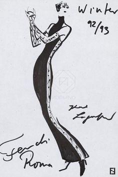 Karl Lagerfeld: 50 Years At Fendi Fashion Sketches, Art Sketches, Fashion Drawings, Fashion Illustrations, Karl Lagerfeld, Fashion Design Portfolio, Illustration Mode, Line Drawing, Fashion Art