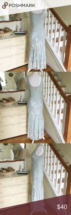 """Sale! Vintage Baby Blue 1920s Art Deco Night Gown This gorgeous 1920s art deco / Gatsby night gown features a mermaid skirt and floral lace and bead detail. Perfect for bridal night / honeymoon. Minimal discoloration around neckline and dress (see 7th and 8th photos). Absolute showstopper. Missing tags, but feels like silk. No size or brand name. Chest: 17.5"""". Waist: 14"""" (up to 16""""). Length: 52"""". Previously $40; price firm. Intimates & Sleepwear"""