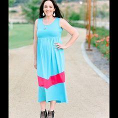 Aqua Blue Maxi Dress 95% Cotton 5% Spandex Xcel Couture Dresses Maxi