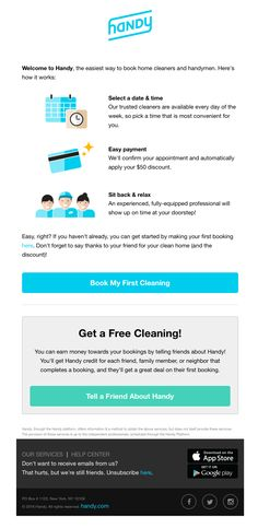 Welcome to Handy – Here's How it Works - Really Good Emails