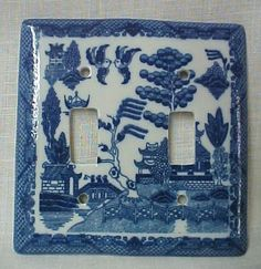 Blue willow lightswitch cover...this is maybe taking things too far...