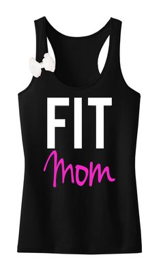 FIT MOM Workout Tank & BOW Racerback Black with Pink, Gym Tank Top, workout tank top, fitness clothing, workout shirt, gym tank, clothing