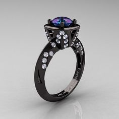 Classic French 14K Black Gold 1.0 Carat Chrysoberyl Alexandrite Diamond Engagement Ring Wedding RIng R502-14KBGDA very very pretty but it costs $2,000