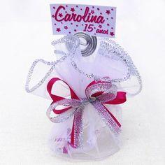 Lembrancinha de 15 Anos Sapatinho Princesa Porta Recado com Lenço de Organza $4.90