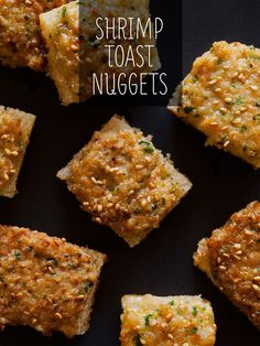 Shrimp Toast Nuggets are one of our favorite appetizer recipes. Basically its a shrimp paste pan fried on a little slice of bread. Seafood Recipes, Appetizer Recipes, Cooking Recipes, Savoury Recipes, Party Appetizers, Party Recipes, Seafood Dishes, Yummy Appetizers, Dip Recipes