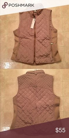 Brand New Vest! Tan vest with elastic side panels and gold zipper details. Runs a little snug. Fits like a medium. Brand new bought from online boutique. Perfect for fall! Haute Monde Jackets & Coats Vests