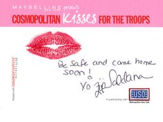 Zoe Saldana #kissesforthetroops!    Submit your virtual kiss at Cosmopolitan.com/kisses & we'll donate a dollar to USO!
