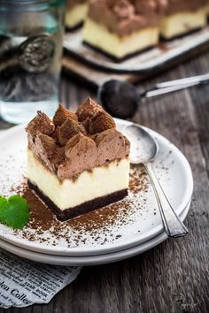 Delicious cheesecake with chocolate and mousse Sweet Desserts, Sweet Recipes, Cake Recipes, Mousse Cake, Polish Recipes, Cheesecakes, Food Photography, Food And Drink, Cooking Recipes