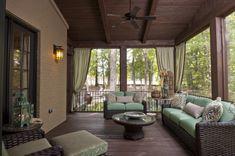 Screened in Porch Patio & Deck Enclosures Ideas & Pictures Screened Porch Designs, Screened In Patio, Backyard Patio, Backyard Landscaping, Outdoor Curtains, Outdoor Rooms, Outdoor Living, Porch Curtains, Courtyards