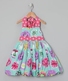 Take a look at this Turquoise Floral Ruffle Dress - Girls by Oopsy Daisy Baby on #zulily today!