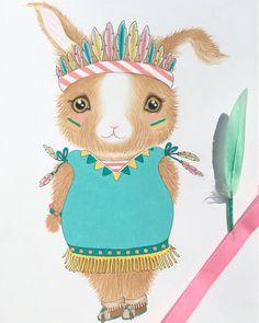 Little illeke bunnie Annabel #illeke #illustratie #illustration #bunnie #konijntje #indiaantje #verkleden #kidsroom #illeke www.illeke.nl