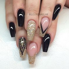 Gold glitter and black coffin nails