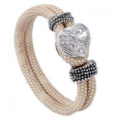 twinkleChic Rhinestoned Heart Faux Leather Layered Bracelet For Women