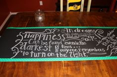 I purchased a roll of chalk board paper at Target. I wrote Harry Potter quotes on it and used it as a table runner. Graduation Table Centerpieces, Harry Potter Quotes, Chalk Board, Sweet 16, Table Runners, School Stuff, Target, Baby Shower, Paper
