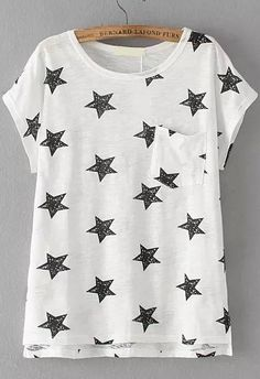 With Pocket Star Print Black T-shirt 9.83