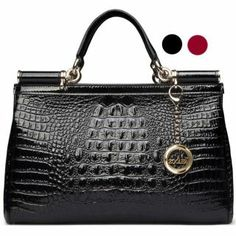 Womens Crocodile Embossed Glossy Shoulder Bag for Womens Fashion Lava Leather: USD $90.05