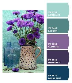Still Life Aqua Color Palette, Purple Color Palettes, Paint Colors For Home, House Colors, Colour Schemes, Color Combos, Bleach Art, Turquoise And Purple, Design Seeds
