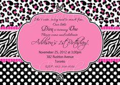 HOT Pink and Black DIVA animal print DIVA invitation - you print. $11.50, via Etsy.