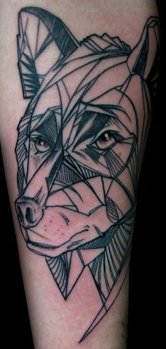 Tattoo - Wolf - Geometric - Line - Draw