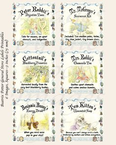 For Beatrix Potter fans, these are hand-crafted Beatrix Potter labels. Ive used the characters from her books and created these fictional products that might be found in Ginger and Pickles country store. Enjoy!  Benjamin Bunnys Energy Drink Duchess the Dogs Wildflower Seeds Cottontails Blackberry Preserves Ginger and Pickles Red Kerchiefs Jemima Puddleducks Bonnet Starch Jeremy Fishers Fishing Tackle Ribbys Fresh Butter Miss Moppets Cat Toys Mr. McGregors Scarecrow Starter Kit Mrs. Rabbits…