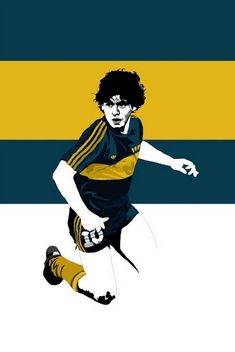 A quick illustration of Diego Maradona during his Boca Junior days, it's the one kit I instantly think of whenever his name is mentioned. Football Design, Retro Football, World Football, Soccer World, Vintage Football, Football Soccer, Legends Football, Good Soccer Players, Football Players