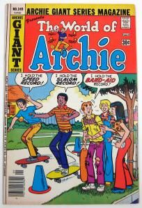 Archie Giant Series #249 Publisher: Archie Comics  Year: 1976  Features: The World of Archie  Condition: Minor wear, light soiling/staining, no pieces missing, no tears, tan pages and darker around edges, blunted corners, and minor creases.  Comic is priced at $3.50.