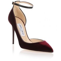Jimmy Choo Lucy burgundy velvet d'Orsay pump (3,060 MYR) ❤ liked on Polyvore featuring shoes, pumps, heels, red, scarpan, red stilettos, heels stilettos, red pumps, high heel pumps and high heel stilettos