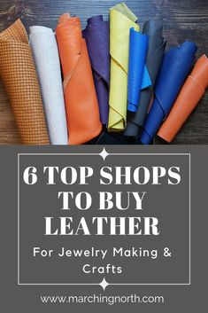 My 6 favorite places to buy leather for jewelry making and crafts! These places are legit! When you're new to leather crafts, deciding where to buy leather can be overwhelming. Here's where I go when I want to buy leather for smaller projects. Diy Leather Projects, Leather Diy Crafts, Leather Gifts, Leather Crafting, Leather Totes, Handmade Leather, Leather Jewelry Making, Diy Leather Earrings, Diy Jewelry Making
