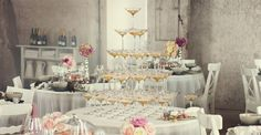 Wedding champagne tower