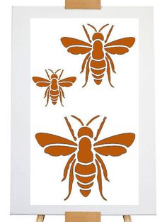 Stencil bee by artistamps1 on Etsy