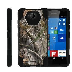Microsoft Lumia 650 SHOCK FUSION Heavy Duty Impact Kickstand Case - Tree Bark Hunter Camo