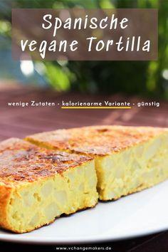 Einfaches Rezept mit wenigen Zutaten für eine spanische vegane Tortilla, die kalorienarm ist und ultralecker! Keine UNMENGEN an EIERN und ÖL! #vegan #rezept #tortilla #tortillavegan #vegantortilla