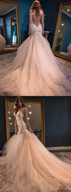 dreamy meramid wedding gowns with backless , sexy lace wedding dresses with lace beaded.