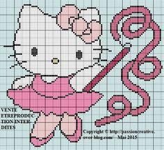 Grille gratuite point de croix : Hello Kitty danse