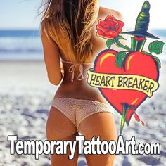 Heartbreaker temporary tattoo design - 2x2 inch