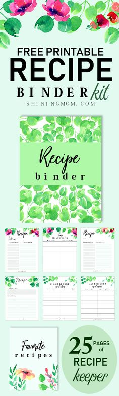 Really? This is free? Grab this amazing recipe binder printables today! #recipe #planners #recipebinder #shiningmomplanners #printables