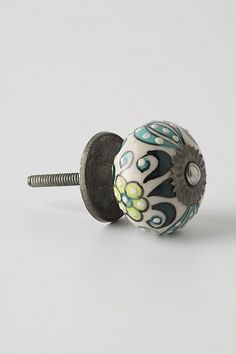Aqua Gardening Indoors Knob from Anthropologie Drawer Pulls And Knobs, Knobs And Handles, Pull Handles, Cupboard Door Knobs, Cabinet Knobs, Kitchen Knobs, Kitchen Hardware, Shabby Chic Nightstand, Houses