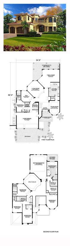 Italian House Plan 55898 | Total Living Area: 4881 sq. ft., six bedrooms, three full bathrooms, one 3/4 bath, and one half bath. #italianhome
