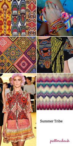 PATTERNS ARE BACK FOR 2013  SUMMER TRIBE TREND: Abstracted Ikat Designs – Simplified Ikat – Optical Patterns – Vibrant Colour Enhanced Ethnic Compositions – Mixed Stripes And Pattern Forms – Blurred Felt-tip Pen Visuals – Multi-coloured Traditional Ikat Motifs