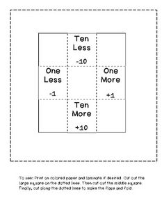 This is a great template to use with your hundreds chart. Will help students find the number that is one less, one more, ten less and ten more. There is a worksheet included to use with the template too! Teaching First Grade, Teaching Math, Maths, Teaching Ideas, Math Resources, Math Activities, Second Grade Math, Grade 2, Daily 5 Math