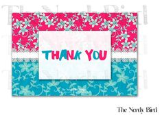Pink and Blue Floral White Lace Printable Baby Shower Thank You Card by The Nerdy Bird
