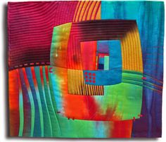 """Fibermania: Silk Streaming Hand dyed and commercial silks and cottons, fused, hand embroidered, machine quilted. 20x18"""""""