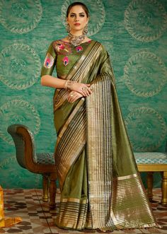 Olive Green Handloom Silk Saree with Double Blouse