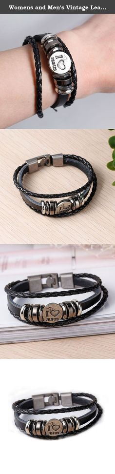 "Womens and Men's Vintage Leather Wrap Wrist Band Rope Bracelet (I love Jesus (7 7/8"") ). Womens and Men's Vintage Leather Wrap Wrist Band Rope Bracelet."