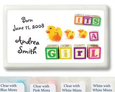 It's a Girl Baby Blocks and Ducks Personalized Mint Favors