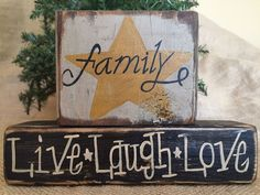 Primitive Country Star Family Live Laugh Love Shelf Sitter Wood Block Set Sign #PrimtiiveCountry