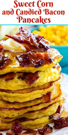 Sweet Corn and Candied Bacon Pancakes - Spicy Southern Kitchen Pancakes And Bacon, Breakfast Pancakes, Breakfast Dishes, Breakfast Recipes, Bacon Pancake, Corn Pancakes, Breakfast Casserole, Crispy Oven Fried Chicken, Candied Bacon