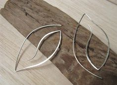 Moonlight silver leaf earrings, contemporary organic From etincelledesign